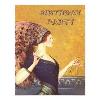 Art Deco Peacock Flapper Birthday Party Invitation