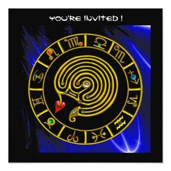 ASTRAL LABYRINTH , black and white ,blue Invitation