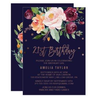 Autumn Floral Rose Gold 21st Birthday Party Invitation
