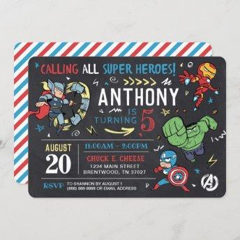 Avengers Chalkboard Birthday Invitation