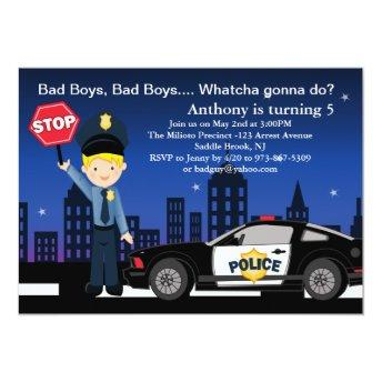 Bad Boys, Bad Boys in the City Birthday Invitation