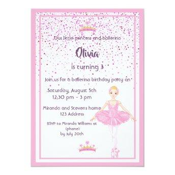 Ballerina And Princess Birthday Party Invitation