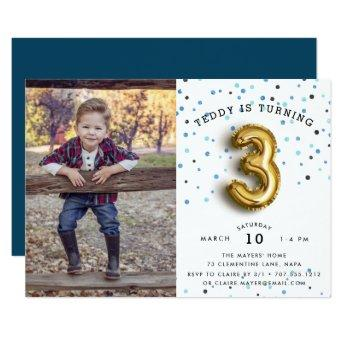 Balloon Type | Photo Third Birthday Party Invite