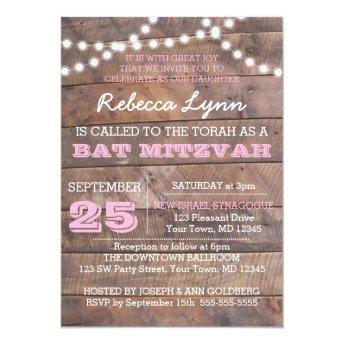 Barnwood Lights Pink Bat Mitzvah