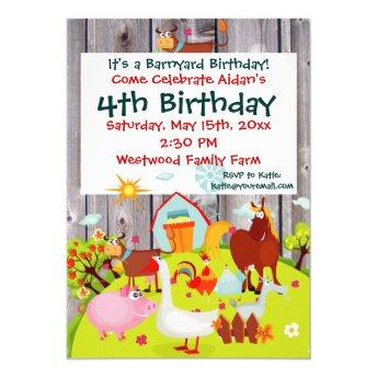 Barnyard Farm Animals Barnwood Birthday