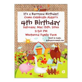 Barnyard Farm Animals Burlap Birthday