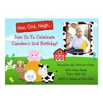Barnyard Farm Birthday Invitation Photo Invitation