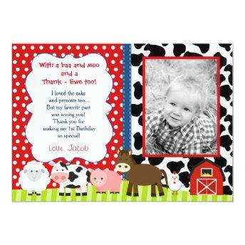 Barnyard Farm Birthday Thank You Note