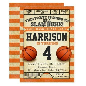 Basketball Ticket Birthday Party  Invite