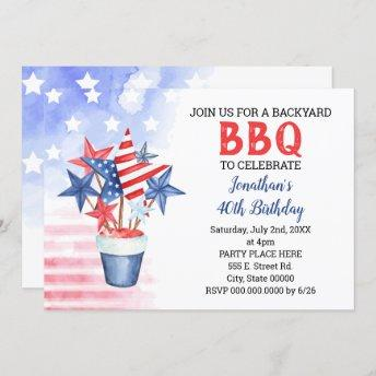 BBQ Red White & Blue Patriotic Birthday Party Invitation