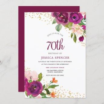 Beautiful Pink Floral 70th Birthday Invitation