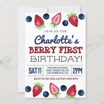 Berry First Birthday Strawberry Invitation
