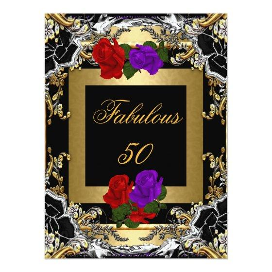 305 Best Fabulous 50 Purple Red Rose Gold Black Silver 65x875 Invitation