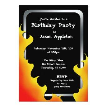 Biker Flames Silver Frame Birthday Invitation