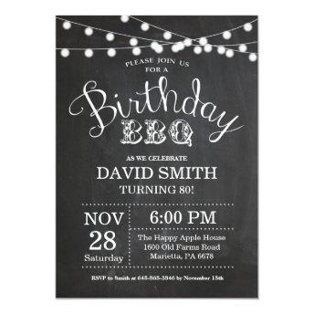 Birthday BBQ Invitation 80th Birthday Chalkboard