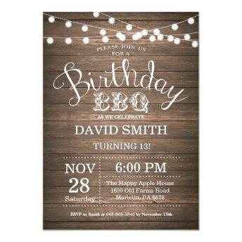 Birthday BBQ Invitation Rustic 13th Birthday