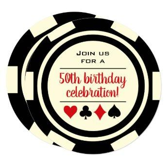 Birthday Black White Poker Chip Casino Invitation