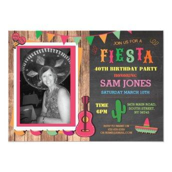 Birthday Fiesta Mexico Mexican Photo Party Invite