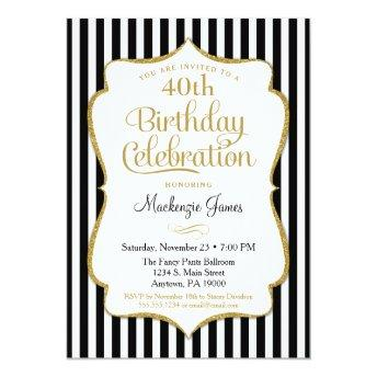 Birthday  Black Gold Elegant Stripe