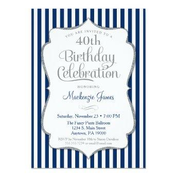 Birthday Invitation Navy Blue Silver Adult