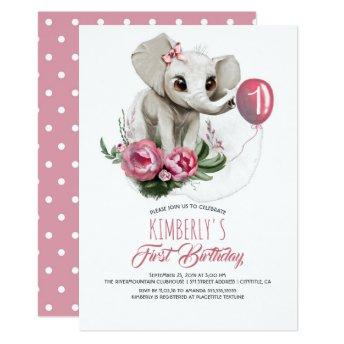 BIRTHDAY Invite Pink Balloon ELEPHANT BABY GIRL