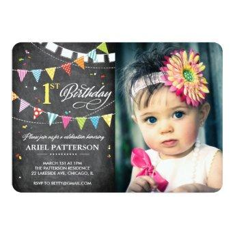 Birthday Party | 1st Birthday Flags Chalkboard