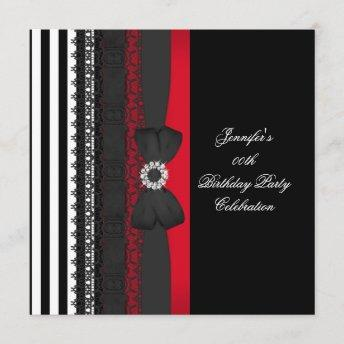 Birthday Party Black Red White Stripe Bow Invitation