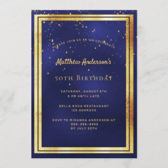 Birthday party blue gold confetti sprinkle invitation