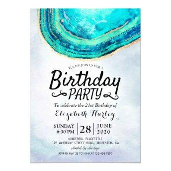 Birthday Party Watercolor Teal & Gold Agate Geode Invitation