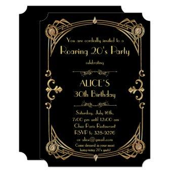 Birthday woman Invitation Any age, Art Deco Gatsby