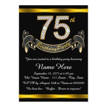 Black and Gold 75th Birthday Party Invitation