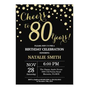 Black and Gold 80th Birthday Diamond Invitation