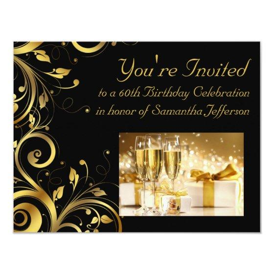217 Black And Gold Swirl Custom 60th Birthday Party Invitation