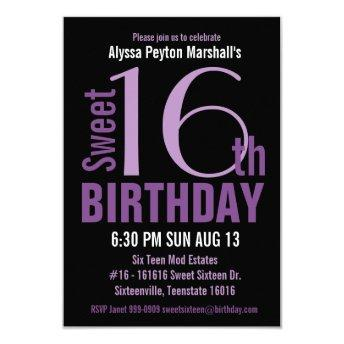 Black and Purple Modern Text Sweet 16th Party
