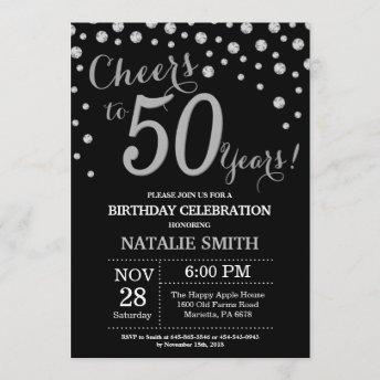 Black and Silver 50th Birthday Diamond Invitation