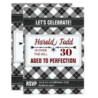 Black And White Plaid Over The Hill Invitation