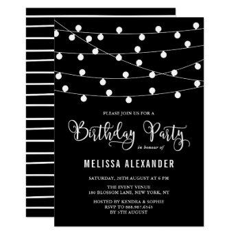 Black and White String Lights Birthday Party Invitation