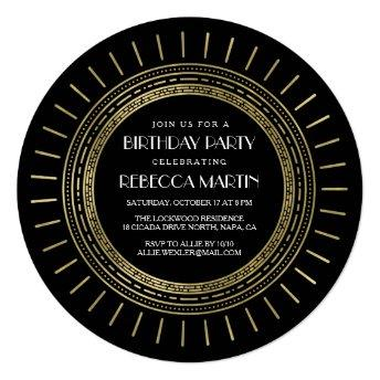 Black & Faux Gold Art Deco Birthday Party Invitation