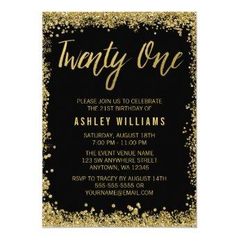 Black Gold Faux Glitter 21st Birthday Invitation