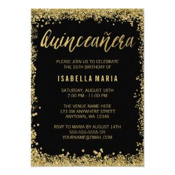 Black Gold Faux Glitter Quinceanera 15th Birthday