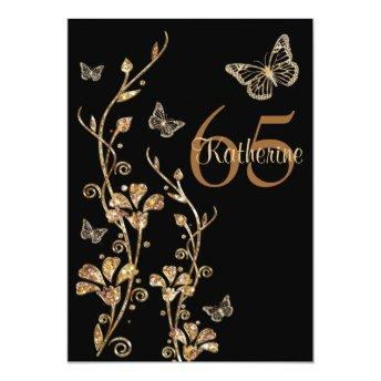 Black, Gold Flowers & Butterflies 65th Invitation