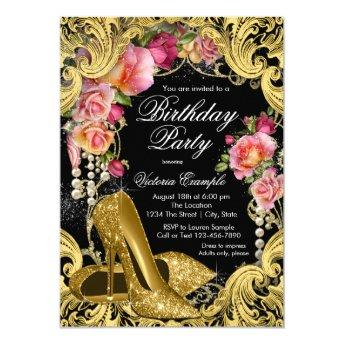 Black Gold Glitter Shoes Birthday Party Invitation