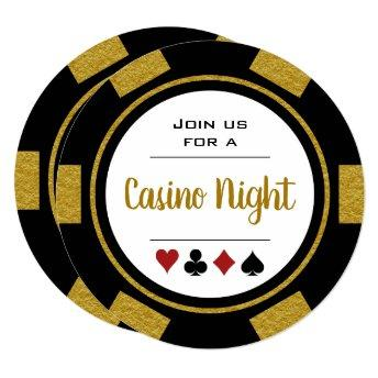 Black Gold Poker Chip Casino Night Birthday Invitation