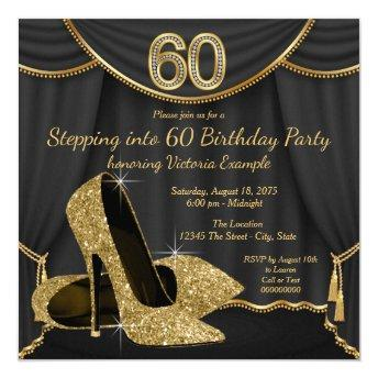 Black Gold Shoe Stepping into 60 Birthday Party