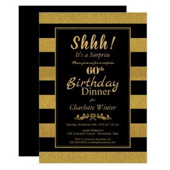 Black & Gold Striped Surprise 60th Birthday Dinner Invitation