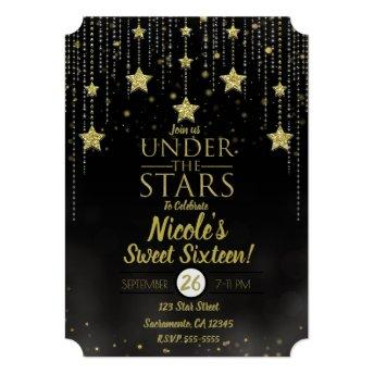 Black & Gold Under The Stars Starry Sweet 16 Invitation
