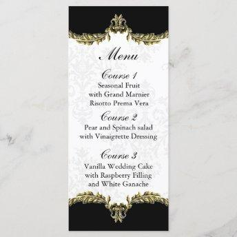 black gold wedding menu