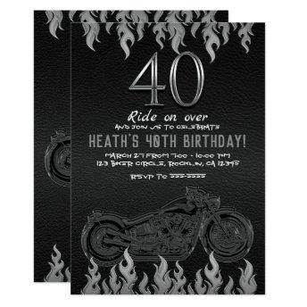 Black Leather Silver Motorcycle 40TH 40 Birthday Invitation