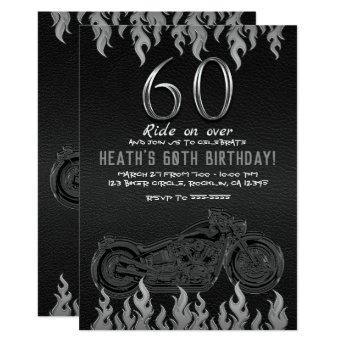 Black Leather Silver Motorcycle 60TH 60 Birthday Invitation