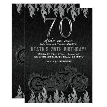 Black Leather Silver Motorcycle 70TH 70 Birthday Invitation
